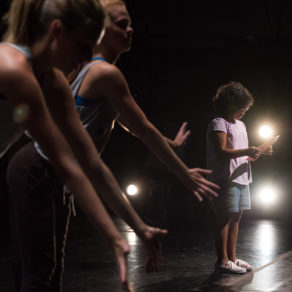Dancers perform to a reading by Oriana Bloom during rehearsal for Youth Rising at the Coralville Center for the Performing Arts. Wednesday, August 23, 2017. --photo by Zak Neumann.
